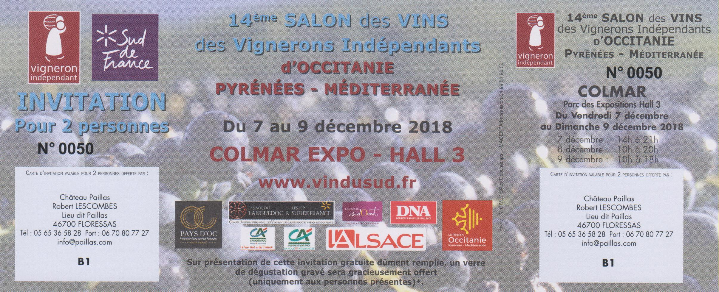 Invitation au salon de vignerons indépendants de Colmar